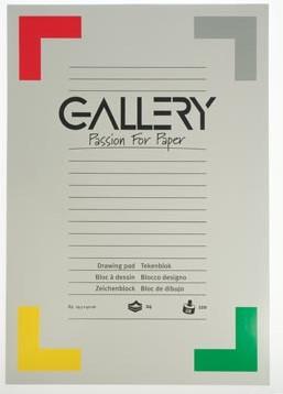Gallery tekenblok 120 g/m², houtvrij papier 24 blad 29,7 x 42 cm A3