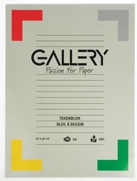 Gallery tekenblok 190 g/m², extra zwaar houtvrij papier 20 blad 27 x 36 cm