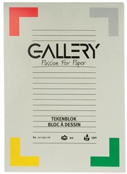 Gallery tekenblok 190 g/m², extra zwaar houtvrij papier 20 blad 21 x 29,7 cm A4