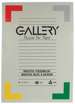 Gallery tekenblok 200 g/m², Bristol 20 blad 21 x 29,7 cm A4