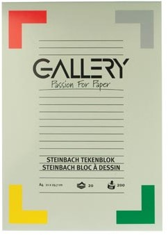 Gallery tekenblok 200 g/m², Steinbach gekorreld 20 blad 21 x 29,7 cm A4