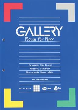 Gallery cursusblok geruit 5 mm papier van 80 g/m²