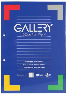 Gallery cursusblok commercieel geruit, papier van 90 g/m²
