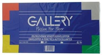 Enveloppen 114 x 229 mm venster rechts met plakstrip pak van 50 stuks