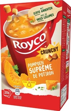 Royco Minute Soup pompoensuprême + korstjes