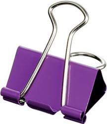 Maped foldbackclip groot model, 32 mm, op blister, 4 stuks: violet, groen, geel en blauw