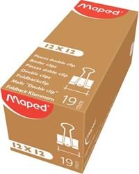 Maped foldbackclip 19 mm, zwart, doos van 12 stuks