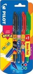 Pilot roller FriXion Ball Mika, blister van 3+1 stuks gratis in geassorteerde kleuren