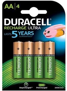 Oplaadbare batterijen AA Duracell ReCharged Ultra 2500mAh 4 stuks