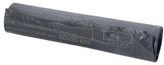 Vuilniszak ft 60 x 80 cm 60 liter grijs rol van 20 stuks