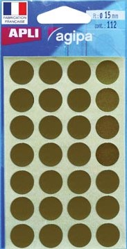 Agipa ronde etiketten 15mm goud