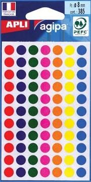 Agipa ronde etiketten 8mm geassorteerde kleuren