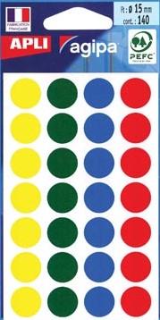Agipa ronde etiketten 15mm geassorteerde kleuren