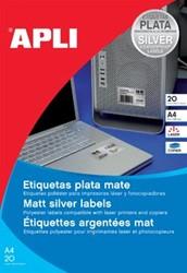 Apli Zilverkleurige etiketten ft 210 x 297 mm, 20 stuks, 1 per blad