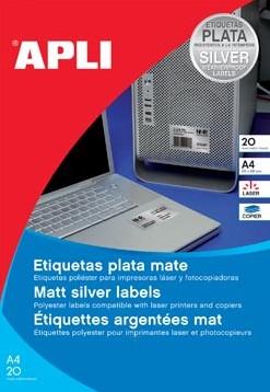 Apli Zilverkleurige etiketten 210 x 297 mm 20 stuks 1 per blad
