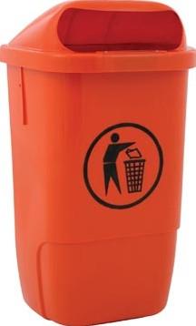 Afvalbak uit kunststof inhoud 50 l oranje