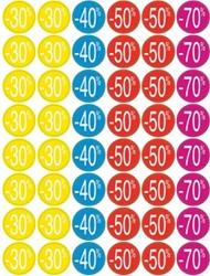 Agipa Kortinglabel van -30% tot -70% (80 x -30%, 40 x -40%, 80 x -50%, 40 x -70%), geassorteerde kleur...