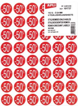 Agipa Kortinglabel -50%, rood pak van 192 stuks verwijderbaar
