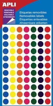 Apli ronde verwijderbare etiketten 8mm geassorteerde kleuren