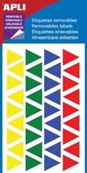 Apli driehoek verwijderbare etiketten 15 mm geassorteerde kleuren