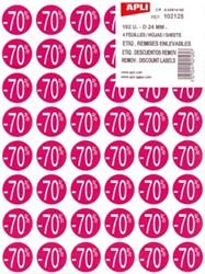 Apli kortinglabel -70%, roze, pak van 192 stuks, verwijderbaar