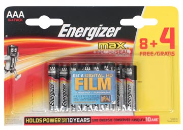 Energizer batterijen Max AAA, promoblister van 8 + 4 + FILM GRATIS