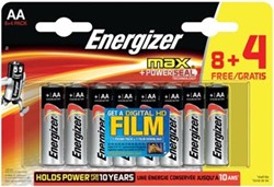Energizer batterijen Max AA, promoblister van 8 + 4 + FILM GRATIS