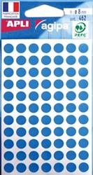 Agipa ronde etiketten 8mm blauw