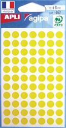 Agipa ronde etiketten 8mm geel