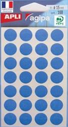 Agipa ronde etiketten 15mm blauw