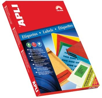 Apli Gekleurde etiketten 70 x 37 mm blauw 2.400 stuks 24 per blad