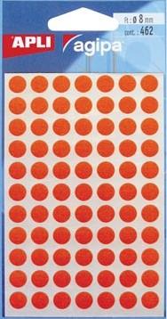 Agipa ronde etiketten 8mm rood