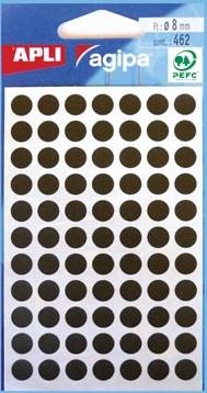 Agipa ronde etiketten 8mm zwart