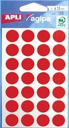 Agipa ronde etiketten 15mm rood