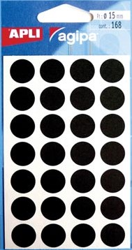 Agipa ronde etiketten 15mm zwart