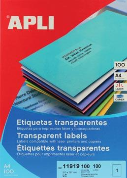 Apli transparante etiketten ft 210 x 297 mm, 100 stuks, 1 per blad
