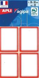 Agipa schooletiketten ft 38 x 50 mm, 32 etiketten per etui, rode rand