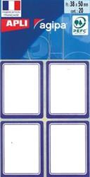 Agipa schooletiketten ft 38 x 50 mm, 32 etiketten per etui, blauwe rand