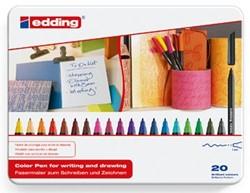 Edding viltstift e-1200 20 stiften in geassorteerde kleuren in een metalen doos
