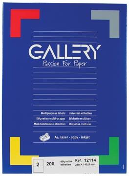 Gallery universele etiketten  210 x 148,5mm 2 etiketten per vel