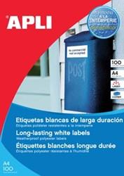 Apli waterbestendige etiketten ft 210 x 297 mm, 100 stuks, 1 per blad, doos van 100 blad