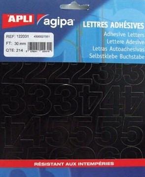 Agipa etiketten cijfers en letters letterhoogte 30 mm 214 cijfers