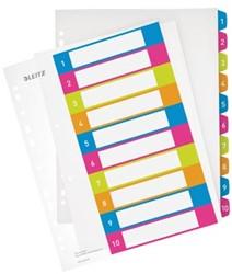 Leitz tabbladen A4 extra breed print Wow met genummerd tabs van 1-10