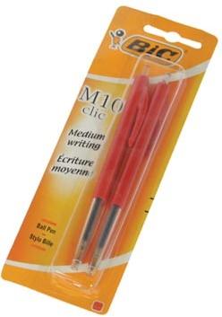Bic balpen M10 Clic op blister medium punt rood