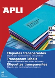 Apli Transparante etiketten ft 105 x 148 mm, 80 stuks, 4 per blad