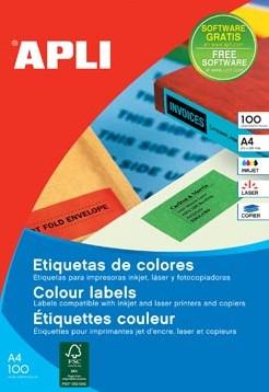 Apli Gekleurde etiketten 105 x 37 mm rood 1.600 stuks 16 per blad doos van 100 blad