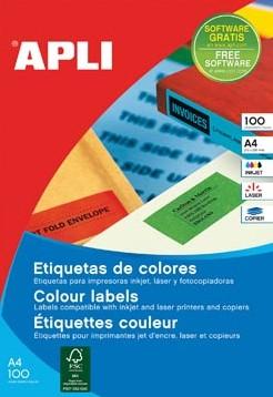 Apli Gekleurde etiketten 105 x 148 mm rood 80 stuks 4 per blad etui van 20 blad