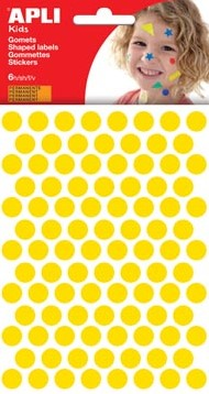 Apli Stickers cirkels geel diameter: 10,5 mm 588 stuks