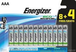 Energizer batterijen Eco Advanced AAA, blister van 8 + 4 stuks gratis