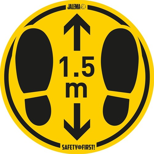 Vloersticker houd afstand geel/zwart Ø350mm voor ruwe vloeren